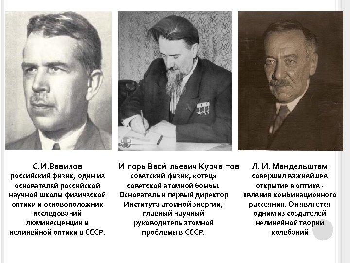 С. И. Вавилов российский физик, один из основателей российской научной школы физической оптики и