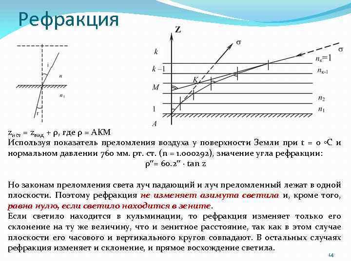 Рефракция zист = zвид + ρ, где ρ = AKM Используя показатель преломления воздуха