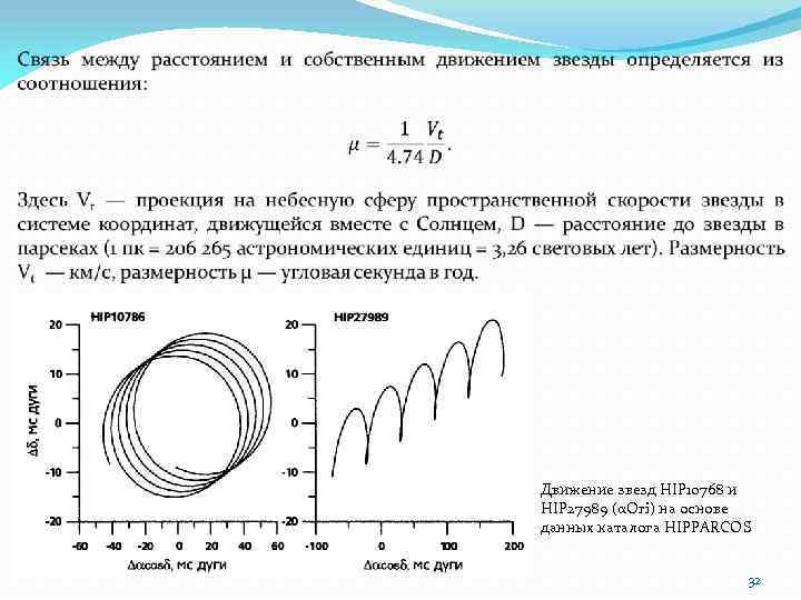 Движение звезд HIP 10768 и HIP 27989 (αOri) на основе данных каталога HIPPARCOS