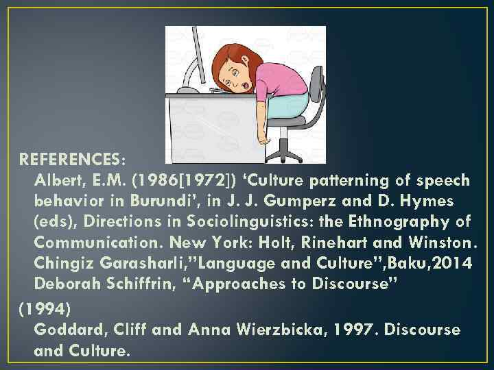 REFERENCES: Albert, E. M. (1986[1972]) 'Culture patterning of speech behavior in Burundi', in J.