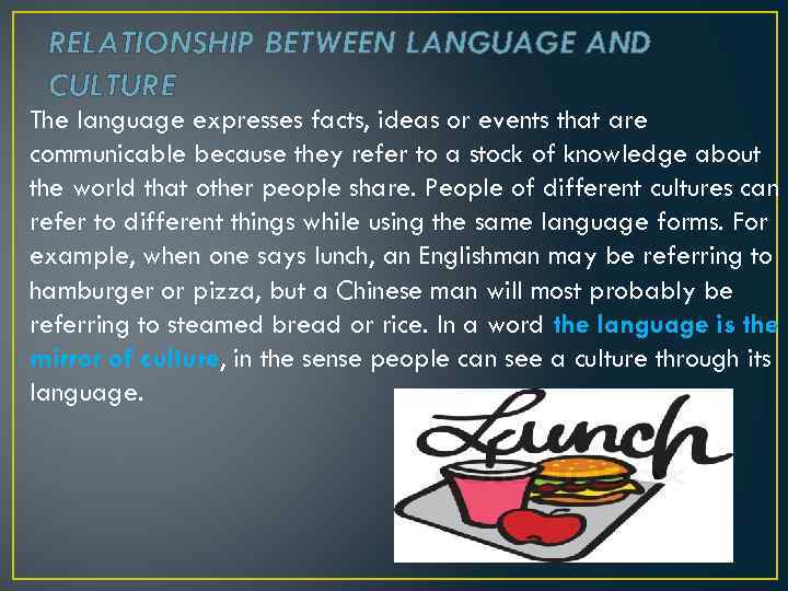 RELATIONSHIP BETWEEN LANGUAGE AND CULTURE The language expresses facts, ideas or events that are
