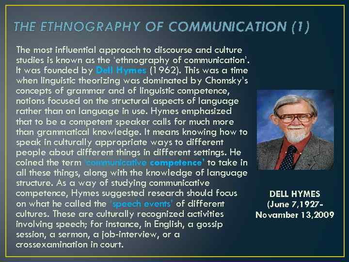 THE ETHNOGRAPHY OF COMMUNICATION (1) The most influential approach to discourse and culture studies