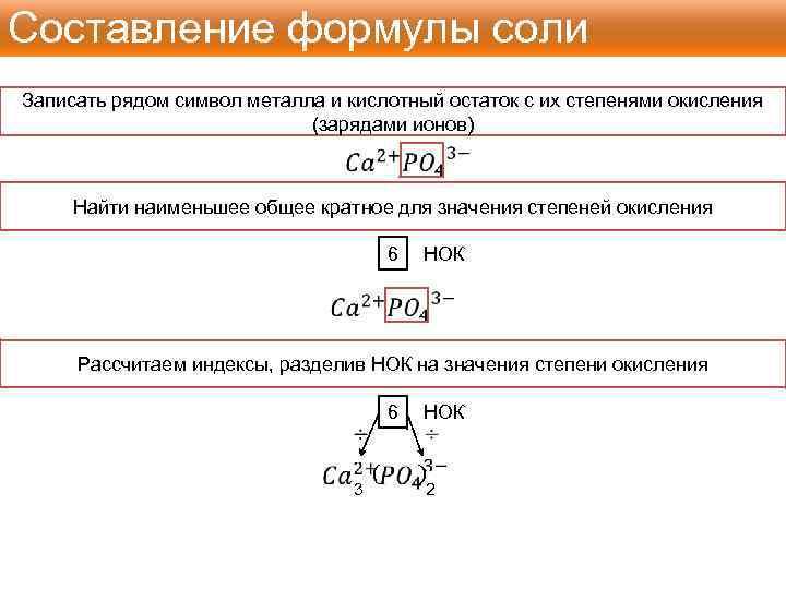 Составление формулы соли Записать рядом символ металла и кислотный остаток с их степенями окисления