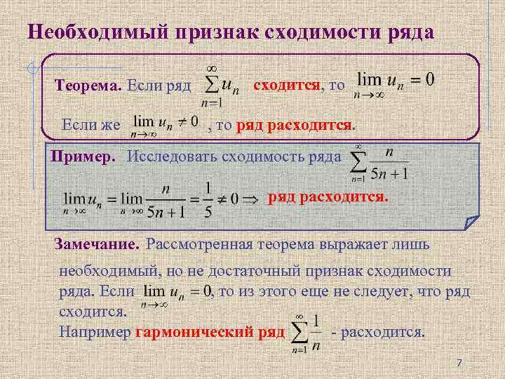 Необходимый признак сходимости ряда Теорема. Если ряд Если же сходится, то ряд расходится. Пример.