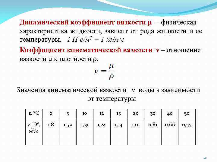 Динамический коэффициент вязкости μ – физическая характеристика жидкости, зависит от рода жидкости и ее