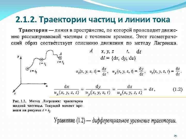 2. 1. 2. Траектории частиц и линии тока 25