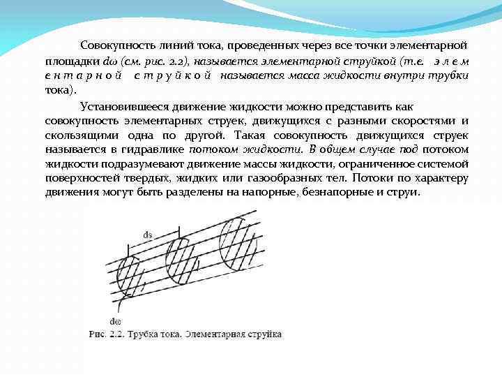 Совокупность линий тока, проведенных через все точки элементарной площадки dω (см. рис. 2. 2),