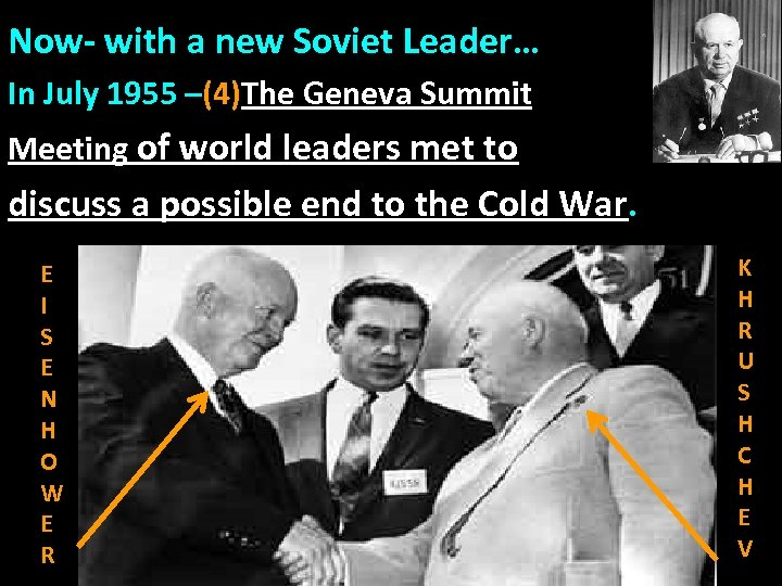 Now- with a new Soviet Leader… In July 1955 –(4)The Geneva Summit Meeting of
