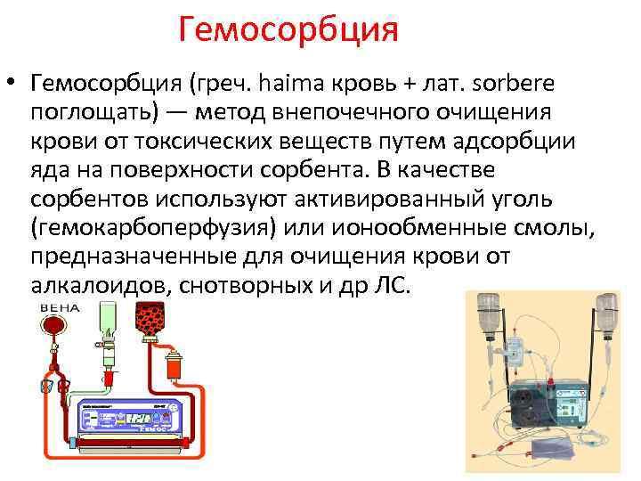 Гемосорбция • Гемосорбция (греч. haima кровь + лат. sorbere поглощать) — метод внепочечного очищения