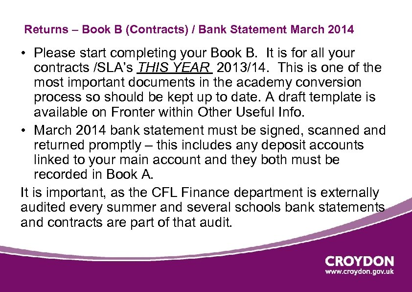 Returns – Book B (Contracts) / Bank Statement March 2014 • Please start completing