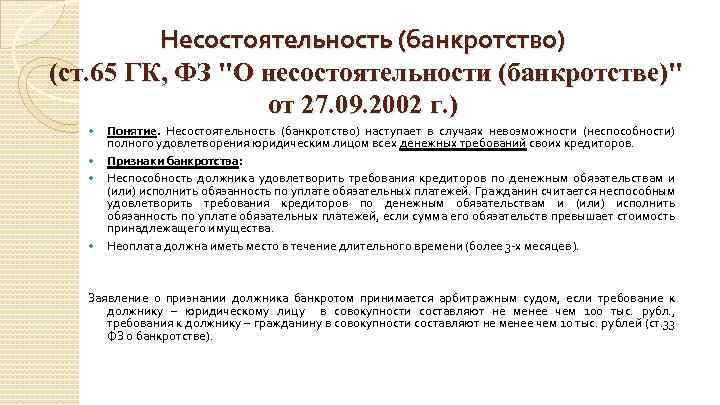 гражданский кодекс о несостоятельности банкротстве