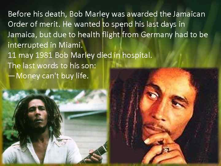 Before his death, Bob Marley was awarded the Jamaican Order of merit. He wanted