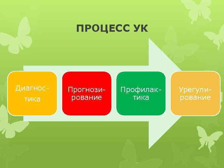ПРОЦЕСС УК Диагностика Прогнозирование Профилактика Урегулирование