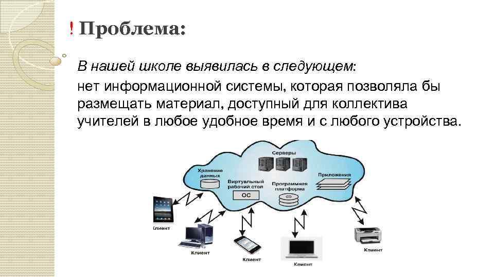 ! Проблема: В нашей школе выявилась в следующем: нет информационной системы, которая позволяла бы