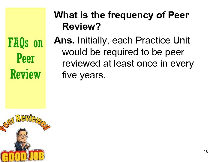 FAQs on Peer Review What is the frequency of Peer Review? Ans. Initially, each