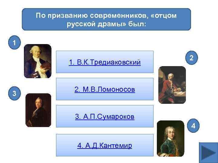 По призванию современников, «отцом русской драмы» был: 1 1. В. К. Тредиаковский 3 2