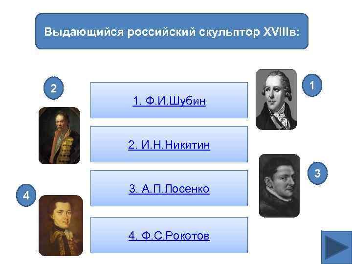 Выдающийся российский скульптор XVIIIв: 2 1 1. Ф. И. Шубин 2. И. Н. Никитин