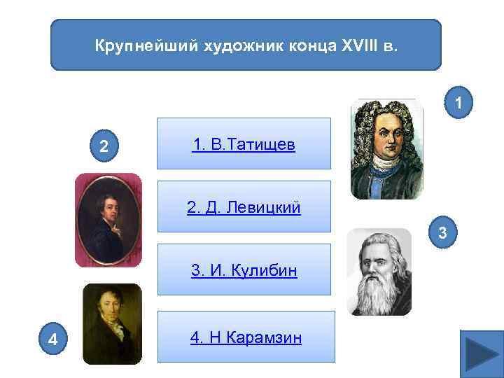 Крупнейший художник конца XVIII в. 1 2 1. В. Татищев 2. Д. Левицкий 3