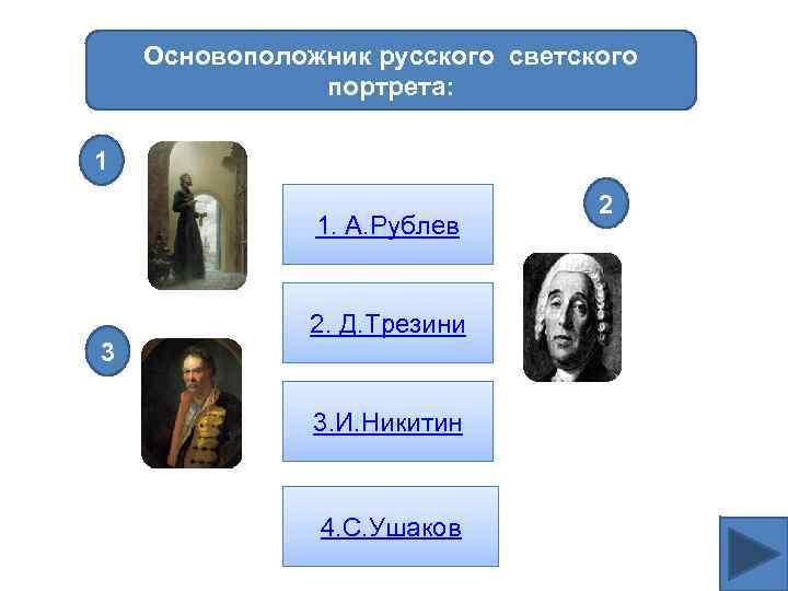 Основоположник русского светского портрета: 1 1. А. Рублев 3 2. Д. Трезини 3. И.