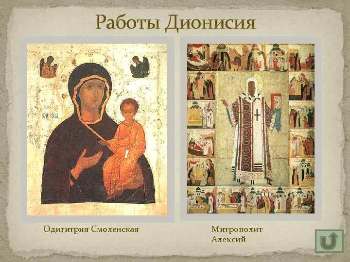 Работы Дионисия Одигитрия Смоленская Митрополит Алексий