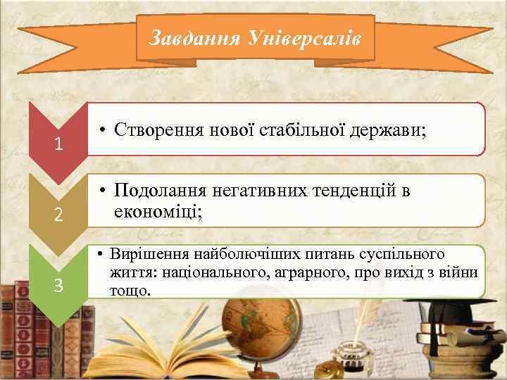 Завдання Універсалів 1 • Створення нової стабільної держави; 2 • Подолання негативних тенденцій в