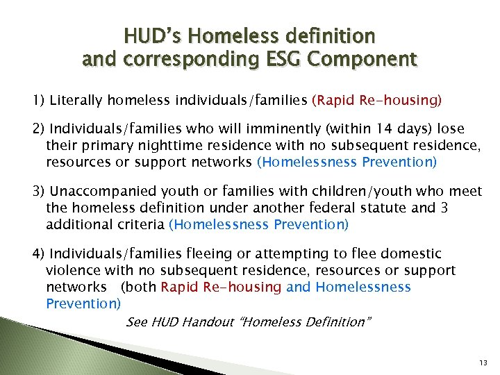HUD's Homeless definition and corresponding ESG Component 1) Literally homeless individuals/families (Rapid Re-housing) 2)