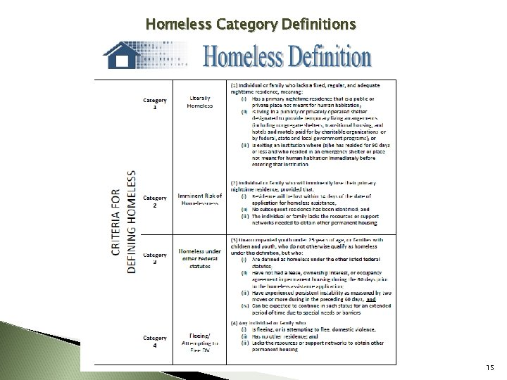 Homeless Category Definitions 15