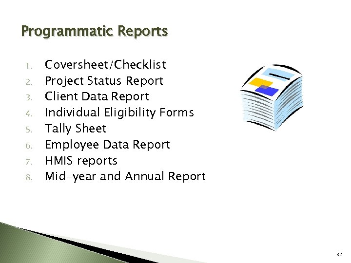 Programmatic Reports 1. 2. 3. 4. 5. 6. 7. 8. Coversheet/Checklist Project Status Report