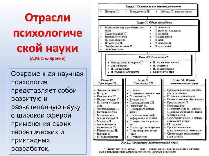 Отрасли психологиче ской науки (А. М. Столяренко) Современная научная психология представляет собой развитую и