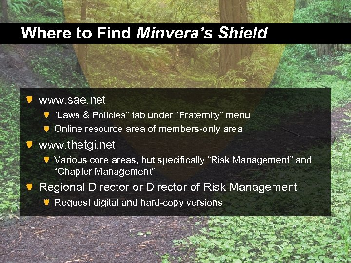 """Where to Find Minvera's Shield www. sae. net """"Laws & Policies"""" tab under """"Fraternity"""""""