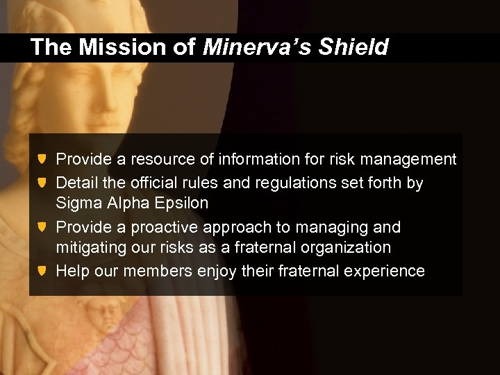 The Mission of Minerva's Shield Provide a resource of information for risk management Detail