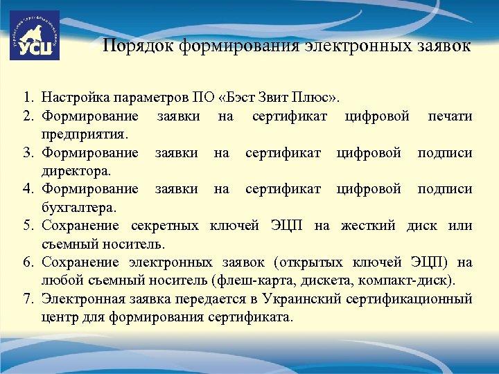 Порядок формирования электронных заявок 1. Настройка параметров ПО «Бэст Звит Плюс» . 2. Формирование