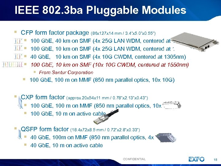 IEEE 802. 3 ba Pluggable Modules § CFP form factor package (86 x 127