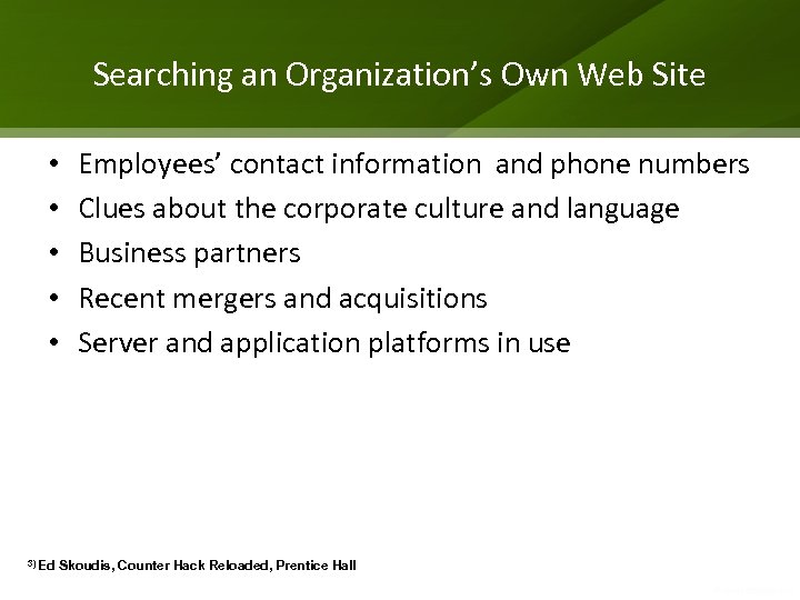 Searching an Organization's Own Web Site • • • 3) Ed Employees' contact information