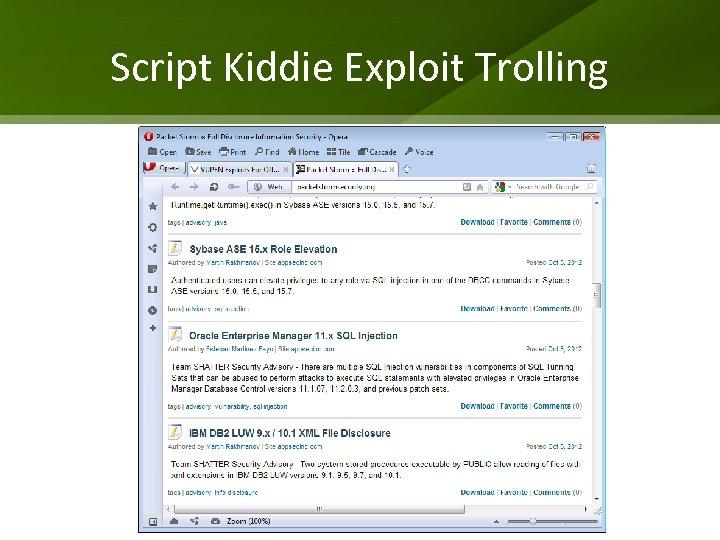 Script Kiddie Exploit Trolling