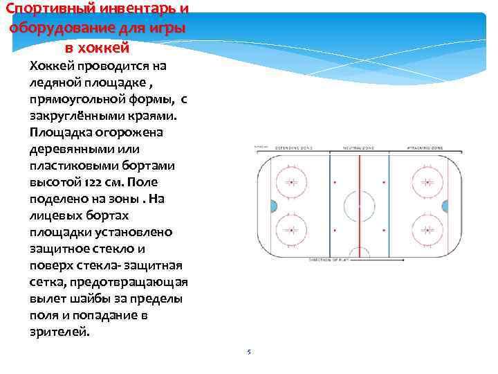 Спортивный инвентарь и оборудование для игры в хоккей Хоккей проводится на ледяной площадке ,
