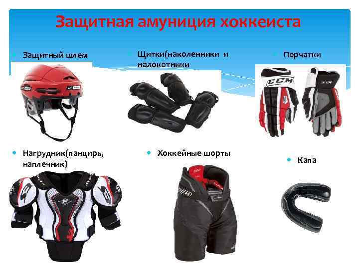 Защитная амуниция хоккеиста Защитный шлем Нагрудник(панцирь, наплечник) Щитки(наколенники и налокотники Хоккейные шорты 9 Перчатки