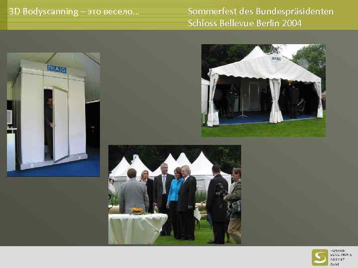 3 D Bodyscanning – это весело… Sommerfest des Bundespräsidenten Schloss Bellevue Berlin 2004