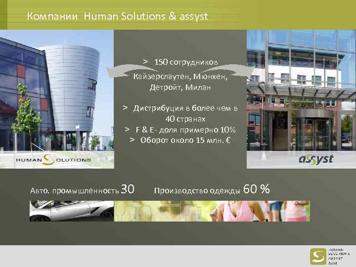 Компании Human Solutions & assyst > 150 сотрудников Кайзерслаутен, Mюнхен, Детройт, Mилан > Дистрибуция