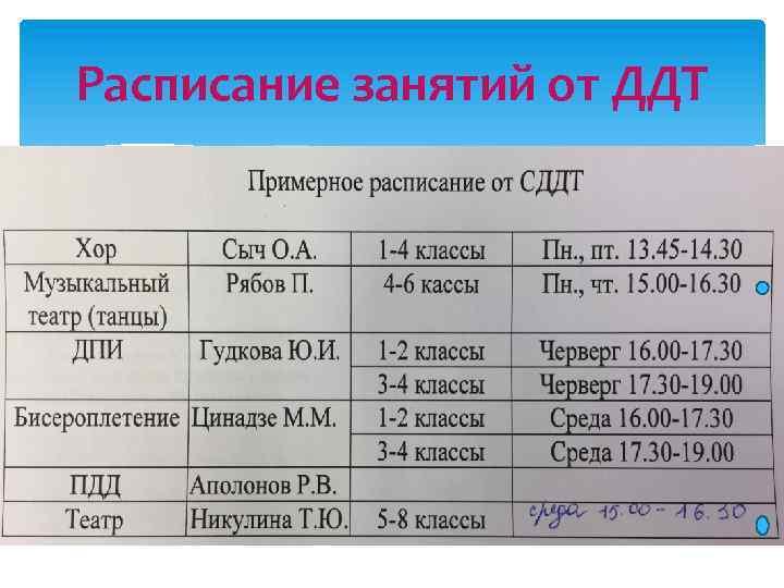 Расписание занятий от ДДТ