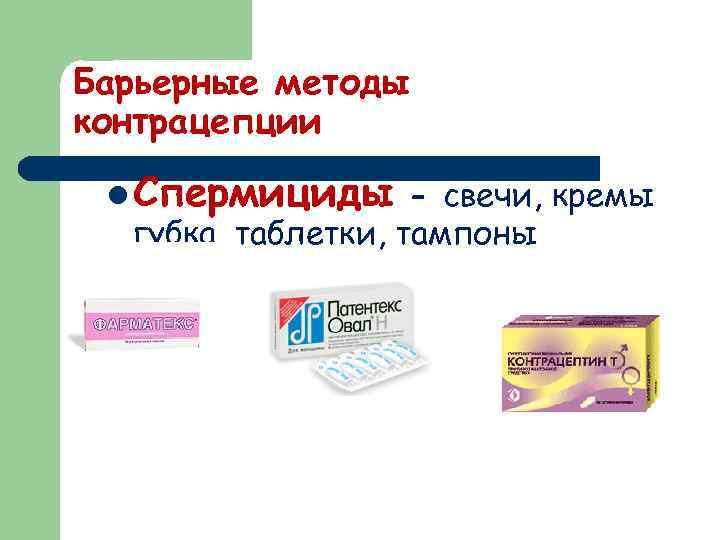 Барьерные методы контрацепции l Спермициды - свечи, кремы губка, таблетки, тампоны