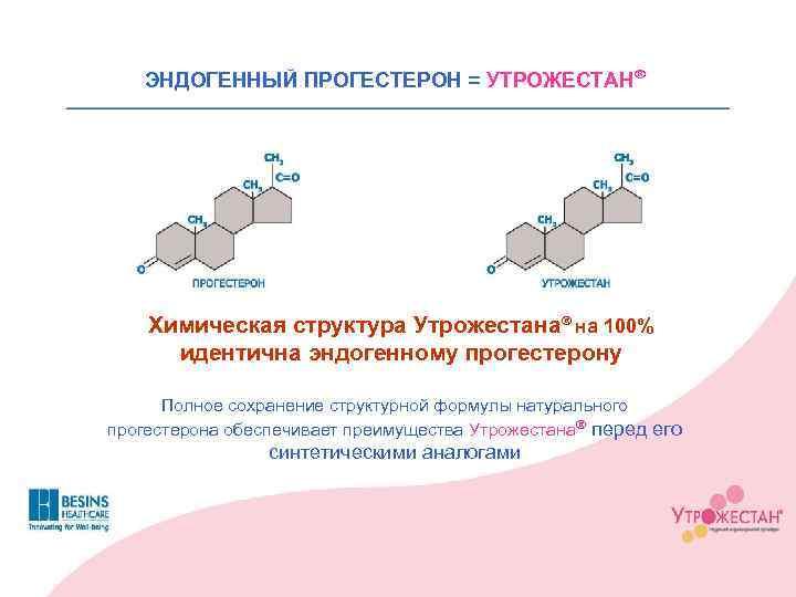ЭНДОГЕННЫЙ ПРОГЕСТЕРОН = УТРОЖЕСТАНÒ Химическая структура УтрожестанаÒ на 100% идентична эндогенному прогестерону Полное сохранение