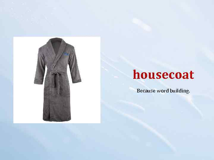housecoat Because word building.