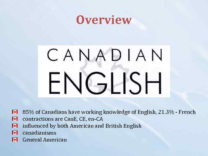 Overview 85% of Canadians have working knowledge of English, 21. 3% - French contractions