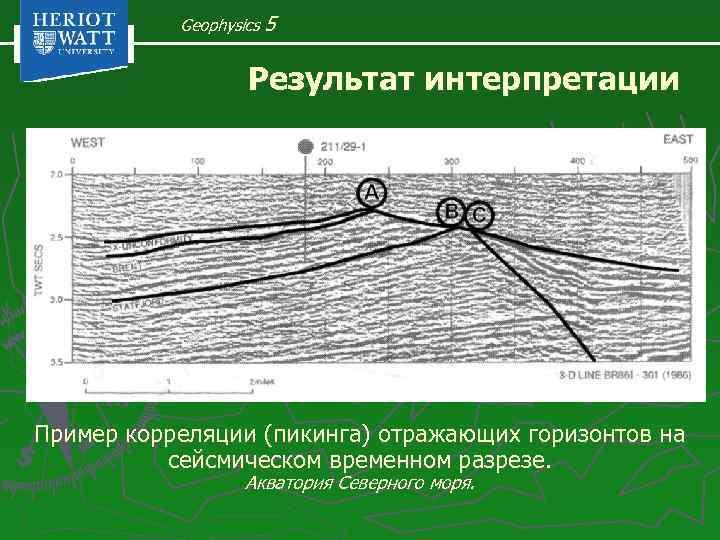 Geophysics 5 Результат интерпретации Пример корреляции (пикинга) отражающих горизонтов на сейсмическом временном разрезе. Акватория