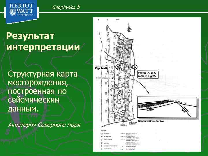 Geophysics 5 Результат интерпретации Структурная карта месторождения, построенная по сейсмическим данным. Акватория Северного моря