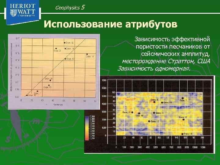 Geophysics 5 Использование атрибутов Зависимость эффективной пористости песчаников от сейсмических амплитуд, месторождение Страттон, США