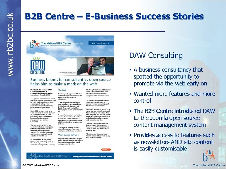 www. nb 2 bc. co. uk B 2 B Centre – E-Business Success Stories