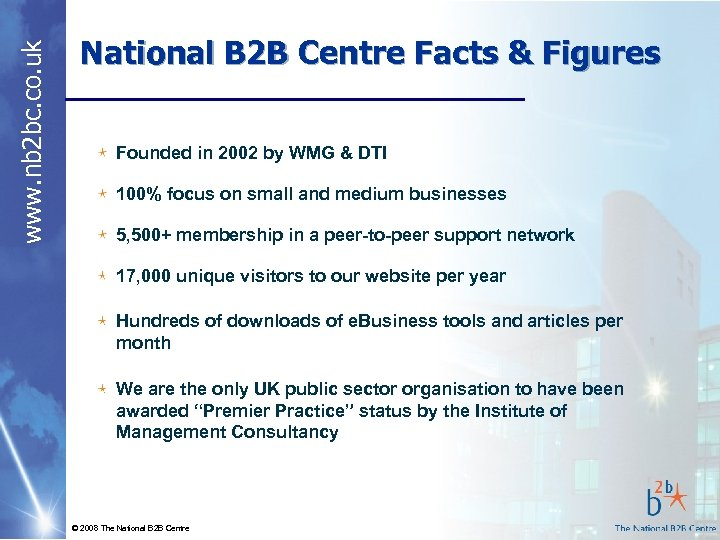 www. nb 2 bc. co. uk National B 2 B Centre Facts & Figures