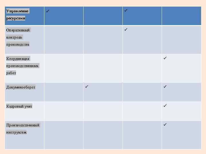 Управление ресурсами Оперативный контроль производства Координация производственных работ Докуменооборот Кадровый учет Производственный инструктаж